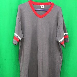 NWOT Augusta Sportswear XL Gray Red White V Neck T